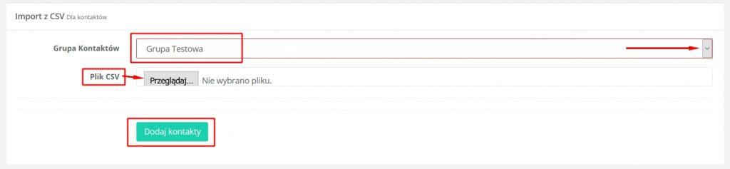 Dodawanie bazy kontaktów - HotSender